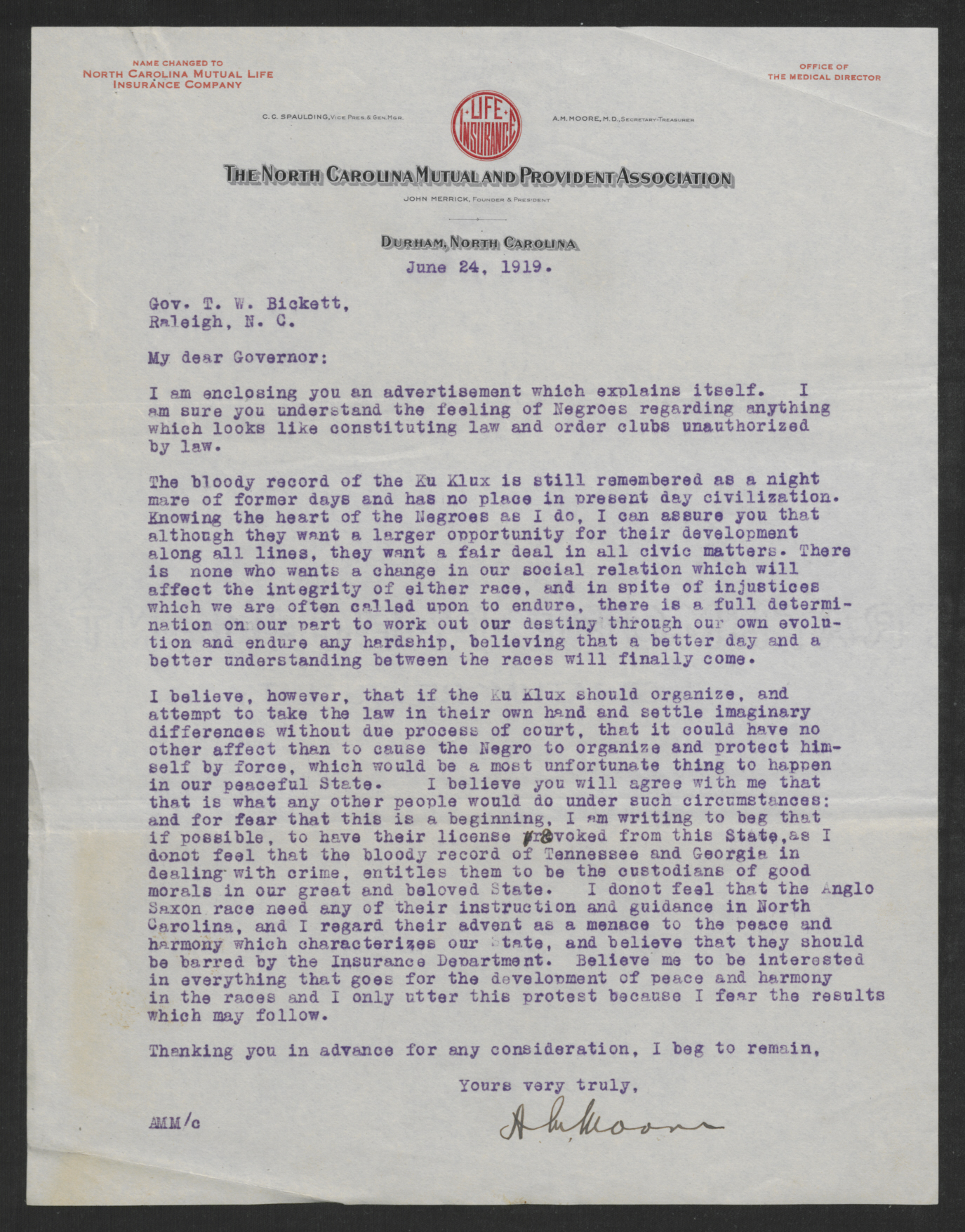 Letter from Moore to Bickett, June 24, 1919