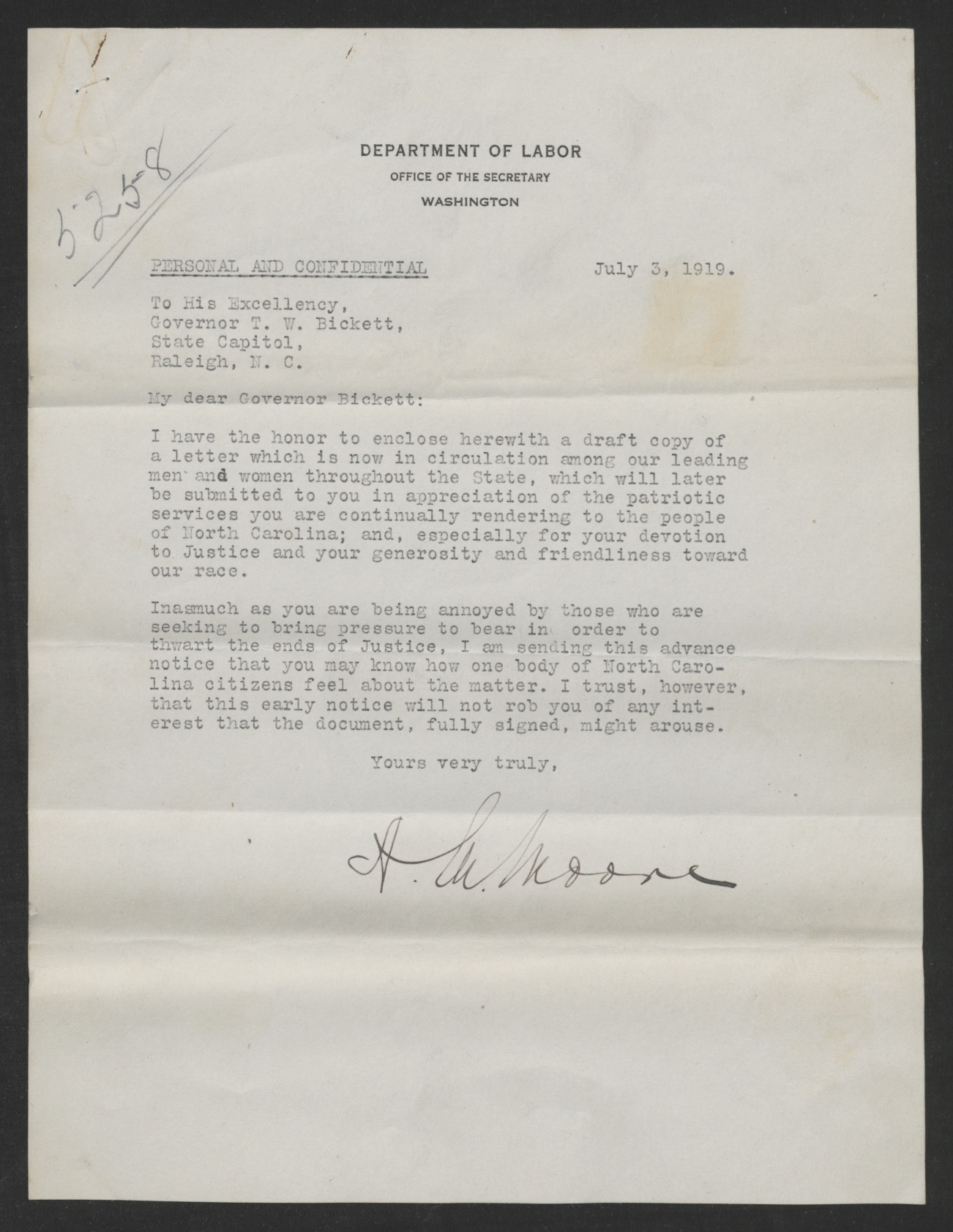 Letter from Aaron M. Moore to Gov. Thomas W. Bickett, July 3, 1919
