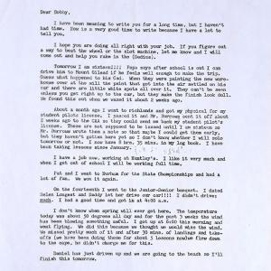 Letter about Smith's first solo flight