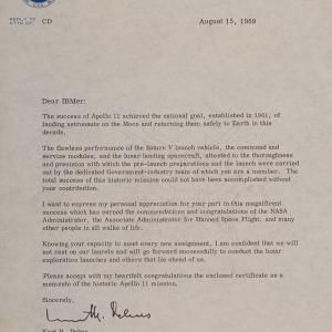 Letter to IBM contractors from Kurt Debus