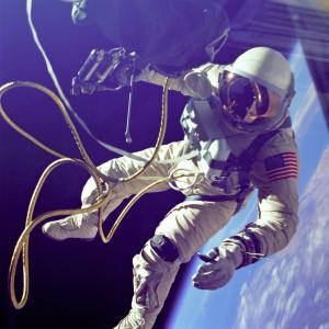 Ed White during the first American spacewalk