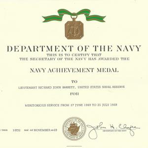 Navy Achievement Medal certificate