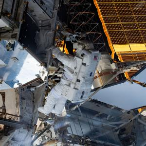 Christina Koch's first spacewalk
