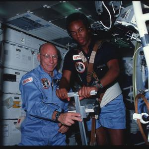 Astronauts Thornton and Bluford