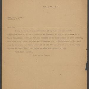 Letter from Charles N. Hunter to Governor-Elect Bickett, November 11, 1916