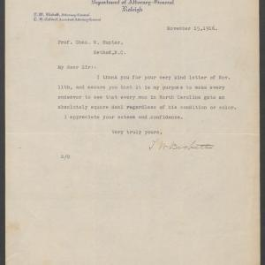 Letter from Governor-Elect Bickett to Charles N. Hunter, November 15, 1916