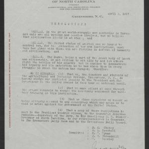 Letter from College to Gov. Bickett, April 3, 1917