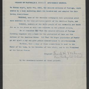 Resolution from Black Citizens of Pantego to Gov. Bickett, April 9, 1917