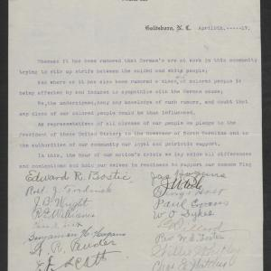 Letter from Black Citizens of Goldsbroro to Gov. Bickett, April 9, 1917