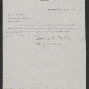 Letter from Bostic and Frederick to Gov. Bickett, April 10, 1917