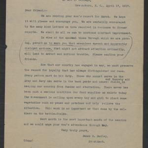 Letter from James B. Dudley to Dear Friend, April 17, 1917