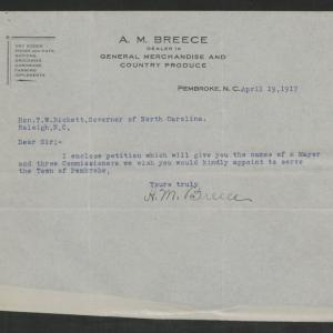 Letter from A. M. Breece to Gov. Bickett, April 19, 1917