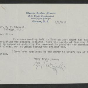 Letter from Martin L. Wright to Gov. Bickett, May 3, 1917