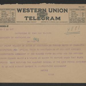 Telegram from Macomb to Gov. Bickett, November 18, 1918