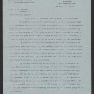 Letter from Hugh MacRae to Gov. Bickett, December 17, 1918