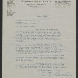 Letter from Earl E. Dudding to Gov. Bickett, April 15, 1919
