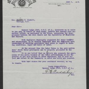 Letter from Francis N. Cuddihy to Gov. Bickett, June 7, 1919