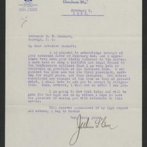 Letter from Julian S. Carr to Gov. Bickett, February 3, 1920
