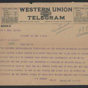 Telegram from J. E. Aggrey to Gov. Bickett, December 1, 1918