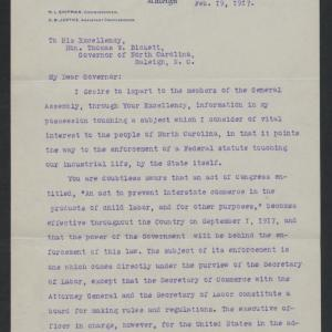Letter from Mitchell L. Shipman to Thomas W. Bickett, February 19, 1917, page 1