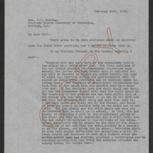 Letter from Thomas W. Bickett to Fordyce C. Harding, February 26, 1919, page 1