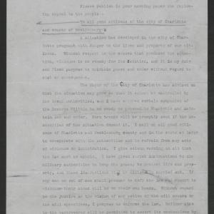 An Appeal to the People of Charlotte and Mecklenburg County for Co-operation of Labor and Capital by Gov. Thomas W. Bickett, May 30, 1919, page 1