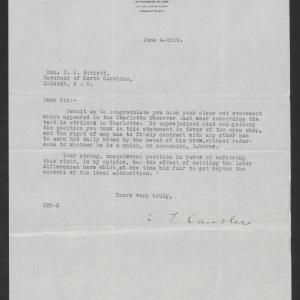 Letter from Edwin T. Cansler to Thomas W. Bickett, June 4, 1919