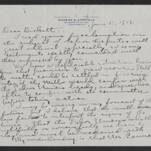 Letter from Frank Armfield to Thomas W. Bickett, June 6, 1919, page 1