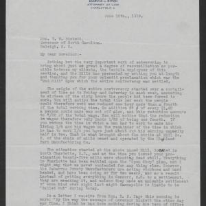 Letter from Marvin L. Ritch to Thomas W. Bickett, June 10, 1919