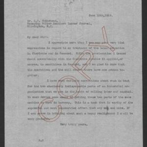 Letter from Thomas W. Bickett to Zollicoffer W. Whitehead, June 12, 1919