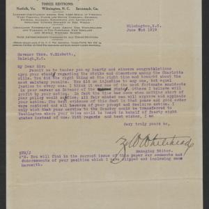 Letter from Zollicoffer W. Whitehead to Thomas W. Bickett, June 7, 1919