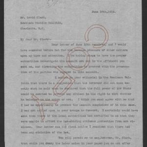 Letter from Thomas W. Bickett to David Clark, June 17, 1919, page 1