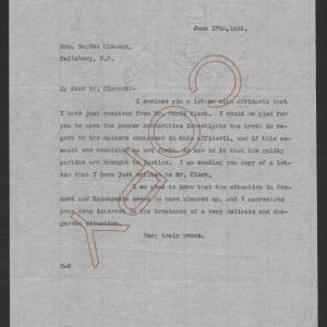 Letter from Thomas W. Bickett to Hayden Clement, June 17, 1919