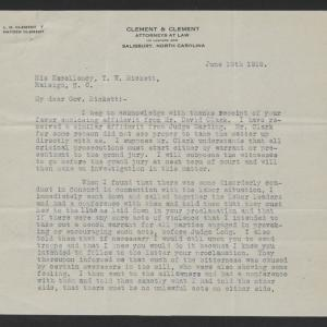 Letter from Hayden Clement to Thomas W. Bickett, June 19, 1919, page 1