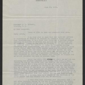 Letter from David Clark to Thomas W. Bickett, June 20, 1919, page 1