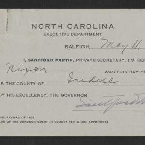 Notary Public Commission for A. H. Nixon, May 11, 1920
