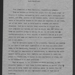 Letter from the Colored Knights of Pythias to Thomas W. Bickett, July 20, 1920, page 1