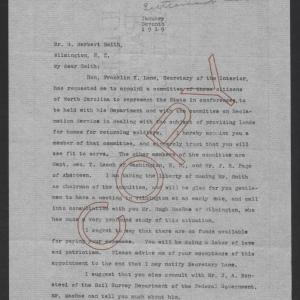 Letter from Thomas W. Bickett to George H. Smith, January 7, 1919