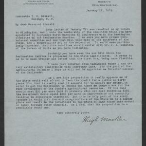 Letter from Hugh MacRae to Thomas W. Bickett, January 11, 1919