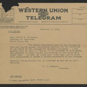 Telegram from Thomas W. Bickett to Ruffin G. Pleasant, February 7, 1919