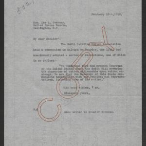 Letter from Thomas W. Bickett to Lee S. Overman, February 13, 1919