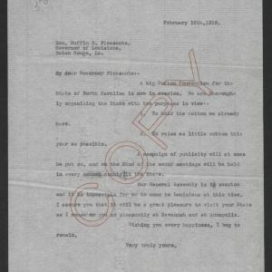 Letter from Thomas W. Bickett to Ruffin G. Pleasant, February 12, 1919