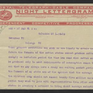 Telegram from Robert A. Cooper to Thomas W. Bickett, January 28, 1919, page 1