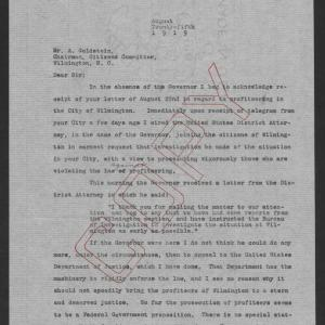 Letter from Santford Martin to Abraham Goldstein, August 25, 1919, page 1
