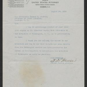 Letter from Thomas D. Warren to Thomas W. Bickett, August 23, 1919