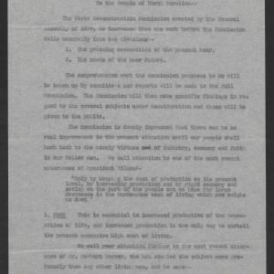 Preliminary Statement of the State Reconstruction Commission by Governor Thomas W. Bickett, October 29, 1919, page 1