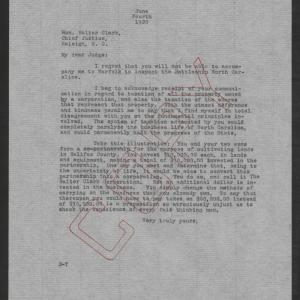Letter from Thomas W. Bickett to Walter M. Clark, June 4, 1920